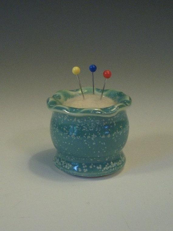Tiny Aqua Pin Cushion - Pottery with Needle Felted Wool