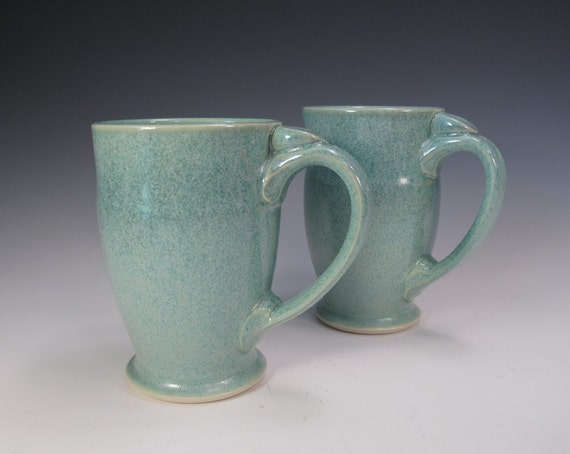 Set of TWO Frosty Green Mugs for Coffee Tea or Cocoa