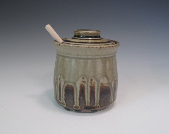 Tan and Ash Glaze Honey Pot with Wooden Honey Dipper