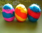 3 Wooden Easter Eggs Felted with Natural Wool