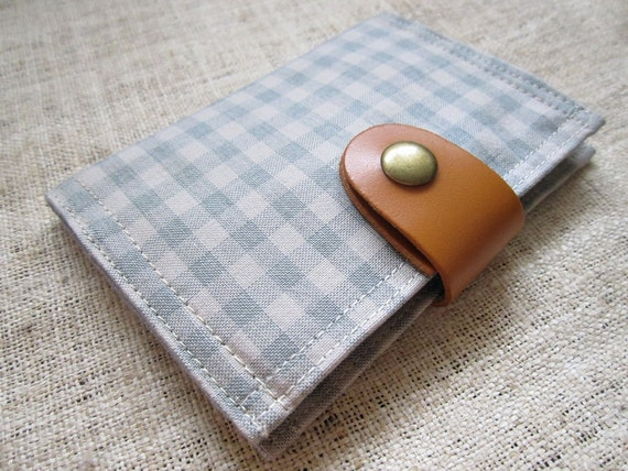 Card Organizer -  Natural Brown Blue Plaid (20 pockets card holder included)