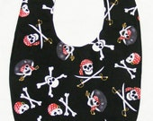 Jolly Roger skull and cross bones - Small Baby Bib