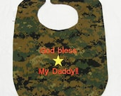 God Bless My Marine Daddy - LARGE Baby Bib