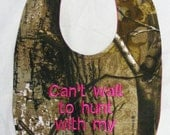 Can't wait to hunt with my Aunt - Baby Bib - Girls Hot Pink - SMALL
