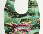 Daddy's Fishing Buddy - Girls Small Baby Bib - Hot Pink