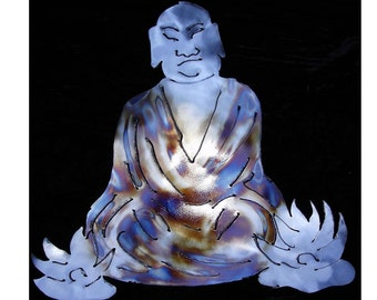 BUDDHA with LOTUS Flowers Zen Buddhism Metal Wall Art Decor