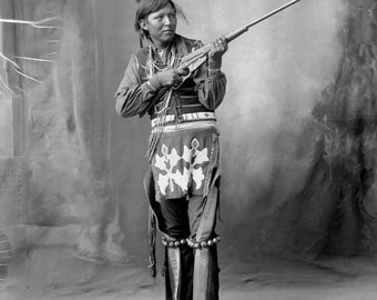 American Indian with rifle Arapahoe Indian Image 8 1/2 x 11 Image