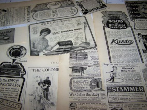 Vintage 1905 ads 25 plus ads Edison phonographs stoves and others