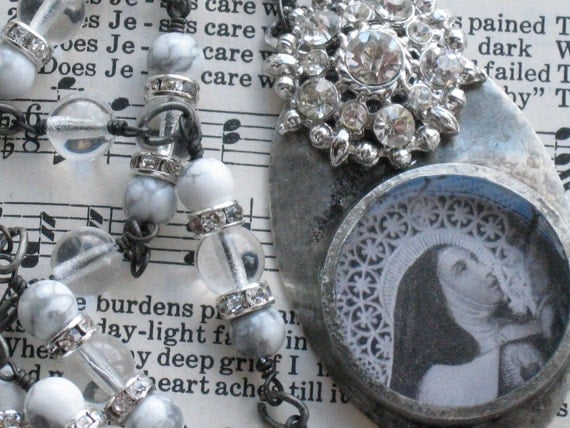 Religious Saint Necklace Vintage Rhinestone Necklace St. Theresia Soldered Necklace