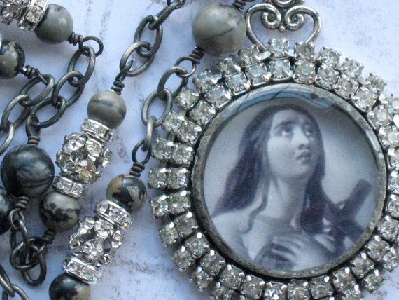 Reserved for Teresa Do Not Buy Unless You Are Teresa  Joan of Arc Necklace Religious Vintage Rhinestones