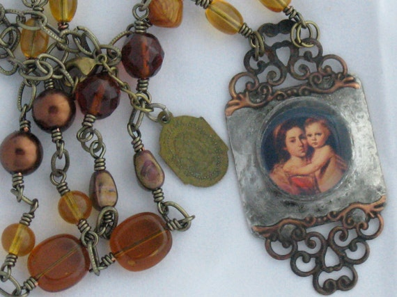 Madonna and Child Soldered Necklace Vintage Religious Medal