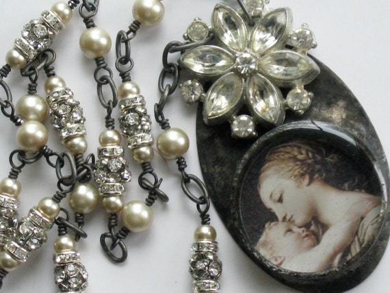 Religious Necklace Madonna and Child Vintage Rhinestone Soldered Necklace