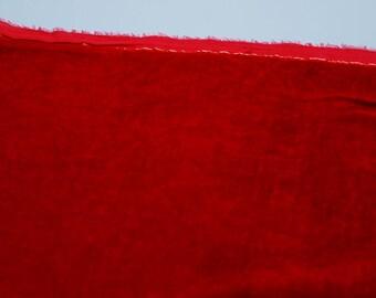 Velvet, hand-dyed silk-backed rayon velvet, Scarlet Red