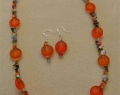 Sea Glass and Milifori Necklace and Earrings Jewelry in Orange