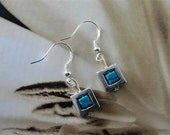 Antique Silver Square and Turquoise Earrings Jewelry