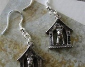 Adorable Antiqued Silver Dog in Dog House Earrings Jewelry