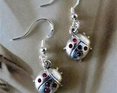 Sterling Silver Lady Bug Earrings with Swarovski Crystals Jewelry
