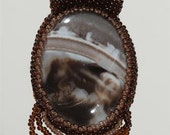 Exquisite Picture Jasper Hand Beaded Cabachon Pendant Necklace Jewelry