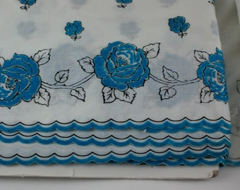 9 YARDS Vintage Teal Blue Velvet Rose Trim
