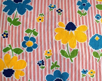 Vintage Red Ticking Floral Fabric