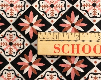 1950's Pink and Black Cotton Fabric