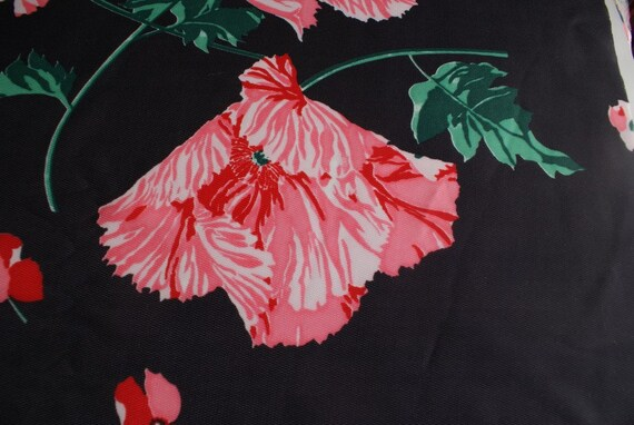 Vintage Black and Pink Floral Polyester FABRIC