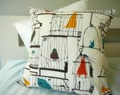 Birdcage Pillow - Retro Pillow -  Pillow Cover - Decorative Pillow
