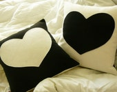 Heart Pillow - Pillow Cover - Black and White - Decorative Pillow Cover - Valentines Day