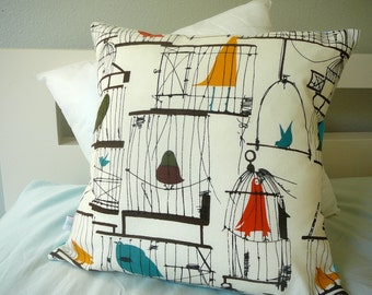 Birdcage Pillow - Retro Pillow -  Pillow Cover - Decorative Pillow