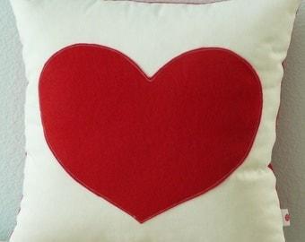 Heart Pillow - Cover - Red Heart - Decorative Pillow - Nursery Decor