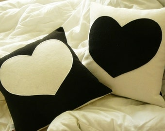 Heart Pillow  - Black and White -  Love - Decorative Pillow - Cover -  Nursery