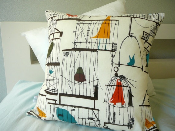 Birdcage - Decorative Pillow - Cover - Retro - 50's - Birds