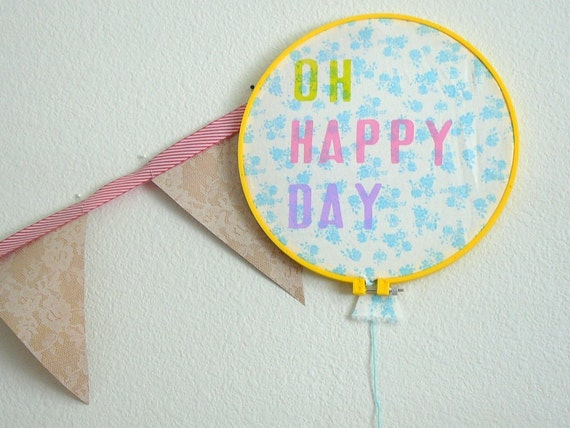 SALE - Oh Happy Day Balloon Embroidery Hoop