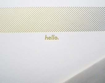 Green Stripes Hello Flat Notecard Set of Six - A7