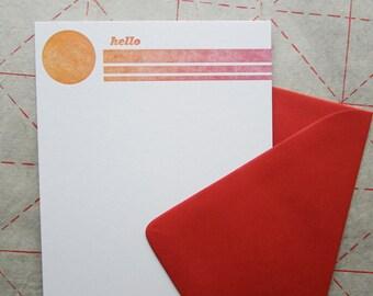 Hello Retro Sunset Flat A7 Notecard Set of Six - Orange & Red - Letterpress