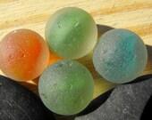 4 GENUINE surf tumbled sea glass marble