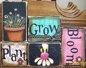 Spring Decor, Spring Sign, Easter Decor, Easter Sign, Gardening Sign  - Plant, Grow, Bloom Spring Blocks