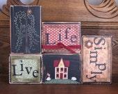 Live Life Simply Americana Simplify Sign Word Blocks