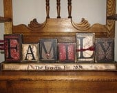 Customized Family Sign Word Blocks