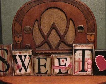 Valentines Day Decor - Valentine's Blocks - Sweetheart Love and Valentine Sign