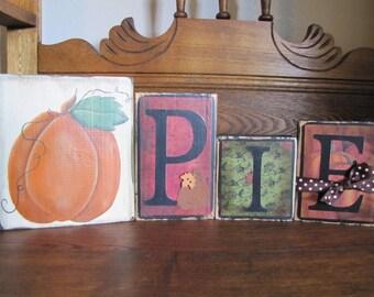 Fall Decor, Pumpkin Sign, Fall Sign, Fall Decoration, Thanksgiving Decor,  Autumn Decor, Pumpkin Pie Word Blocks
