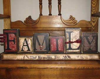 Family Gift, Family Sign- Personalized and Customized Word Blocks