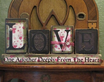 Love sign, Valentine sign, Wedding gift , Love One Another Deeply From the Heart Love and Marriage Wedding Sign Word Blocks