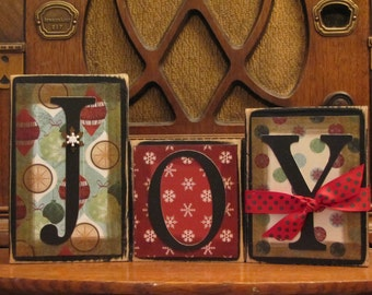 Joy Christmas Sign Word Blocks