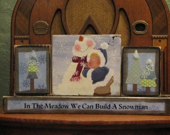 In the Meadow We Can Build a Snowman Winter Sign Word Blocks