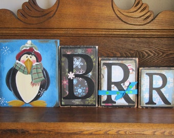 Winter Decor, Winter Sign,  Word Blocks - Brrr Mr. Penguin