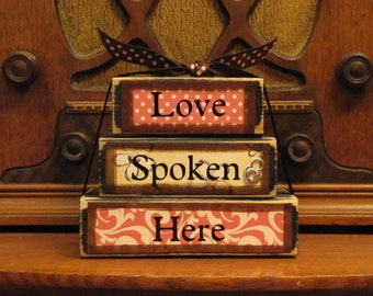 Valwntines Day decor, Love Spoken Here Word Stacker Valentine's and Wedding Sign Blocks