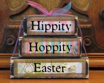 Easter Decor, Easter Sign, Spring Sign, Hippity Hoppity Word Blocks Stacker