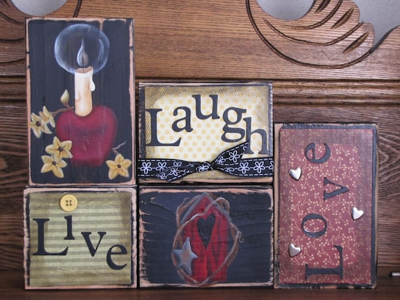 Live, Laugh Love Sign Word Blocks With Apple Candle