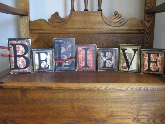 Believe Christmas Sign Word Blocks - Old World Santa Style